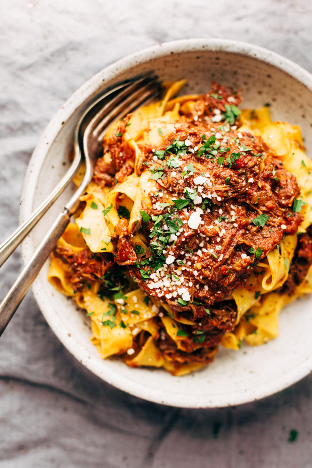Weekend Braised Beef Ragu with Pappardalle - A simple beef ragu that's so simmered on the stove top or in a crockpot all day long. So comforting! #beefragu #slowcookerbeefragu #braisedbeef | Littlespicejar.com