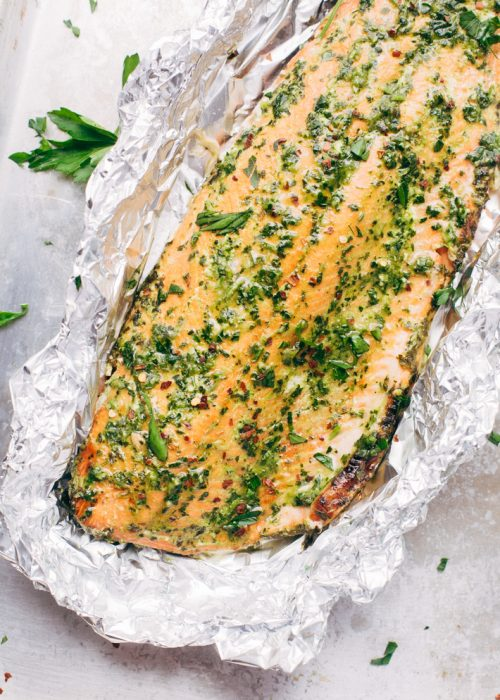 pink salmon fillet cooked