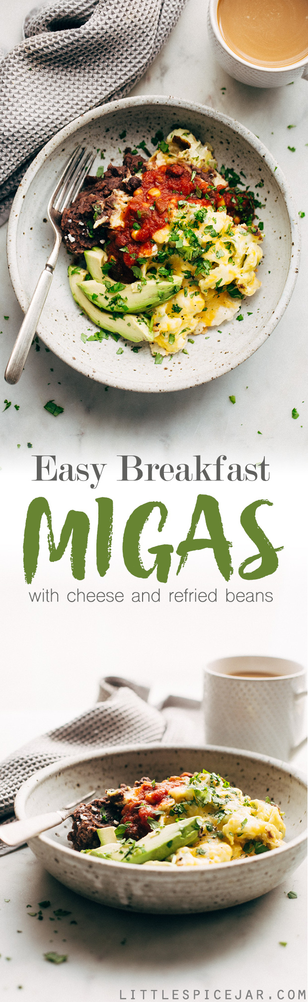 Easy Breakfast Migas - These Tex-Mex style scrambled eggs are made with tortilla chips, cheese, and lots of salsa! #migas #texmex #breakfast #brinner | Litltlespicejar.com