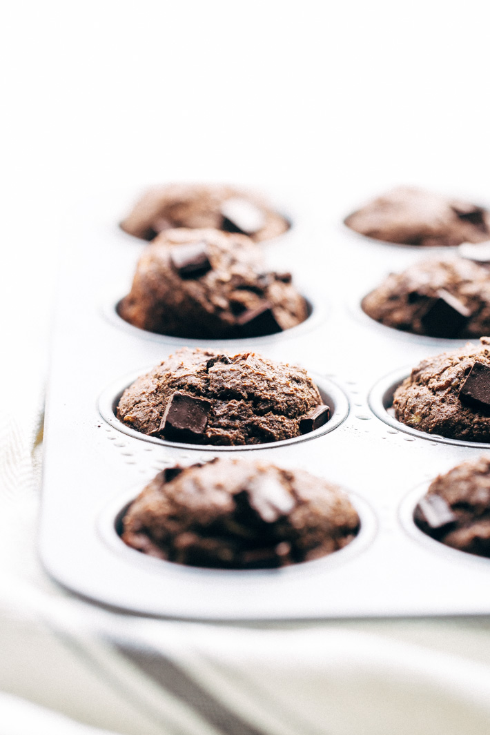 Lighter Double Chocolate Banana Muffins - Easy muffins that are made with whole wheat flour, mashed bananas, and contain NO BUTTER! #doublechocolatemuffins #chocolatemuffins #bananachocolatechipmuffins #muffins | Littlespicejar.com