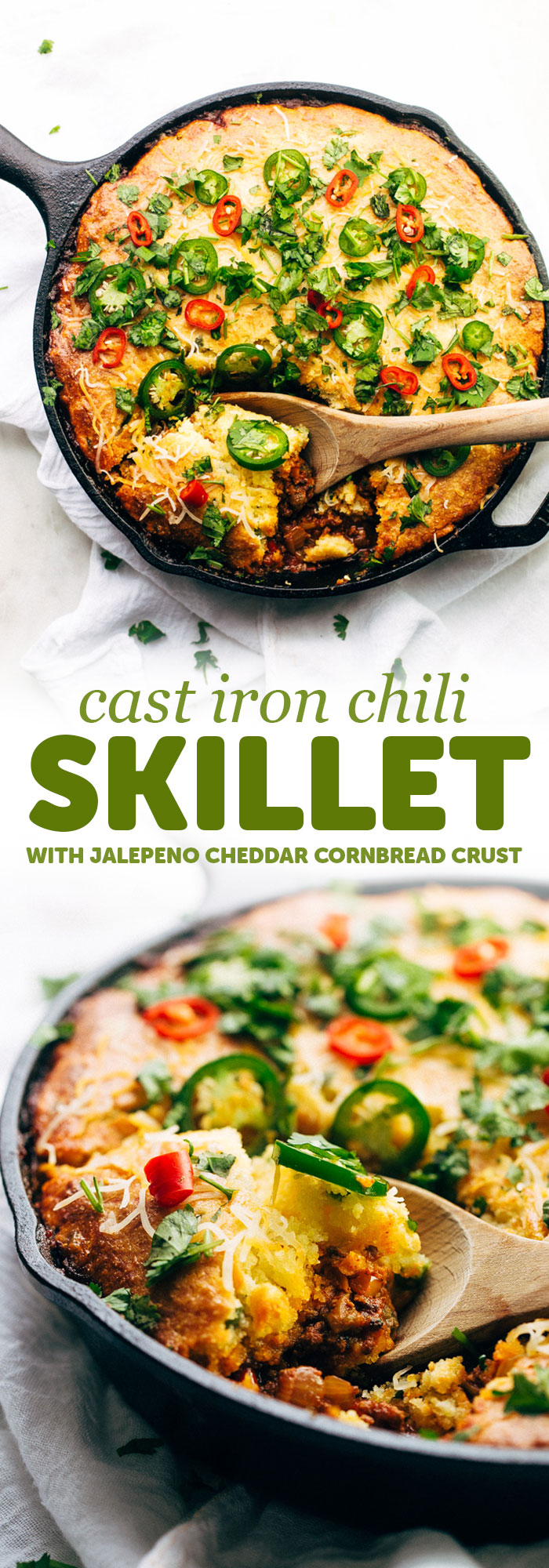Skillet Chili with Jalapeño Cheddar Cornbread Crust - A simple chili and cornbread recipe that takes comes together in one pan and is so hearty and filling! #cornbread #chili #skilletchili #comfortfood | Littlespicejar.com