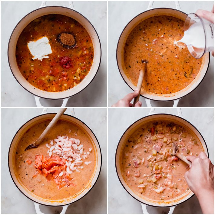 four images showing how to add the cream cheese, heavy cream, and seafood to chowder