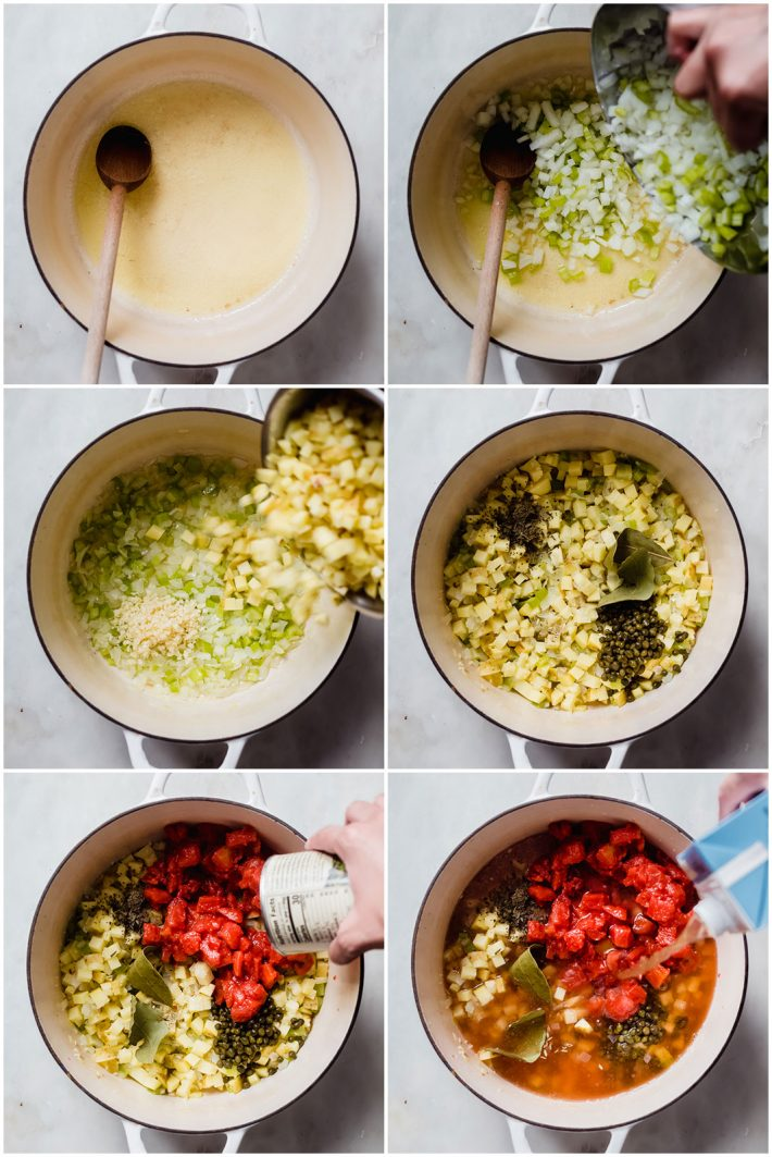 six pictures showing process of sautéing veggies, and simmering the chowder