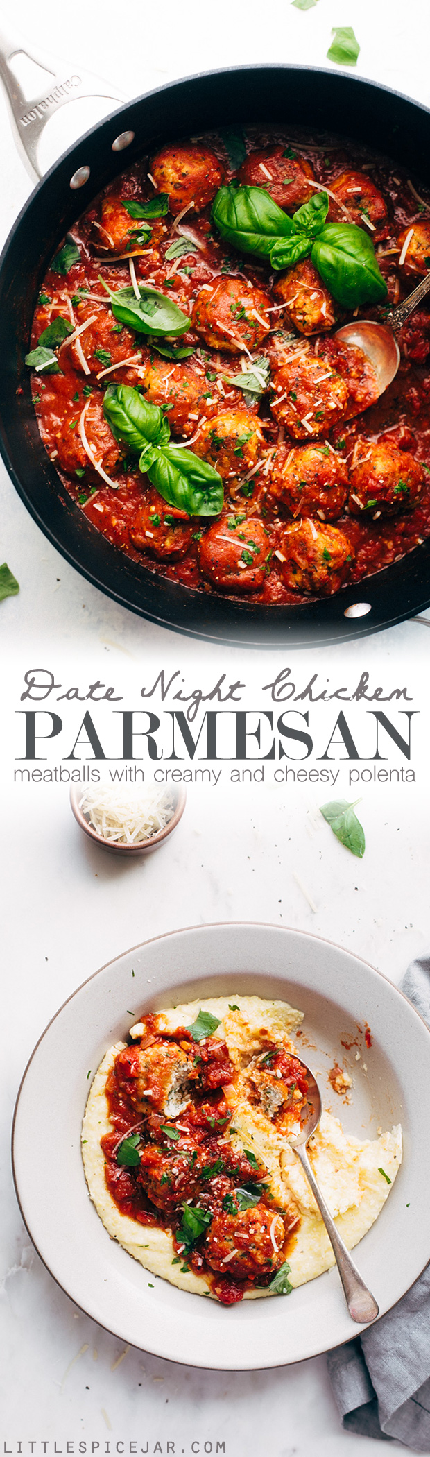 Chicken Parmesan Meatballs and Creamy Polenta - a perfect dish for date night in! These meatballs are flavorful and tender! Serve over parmesan polenta or spaghetti! #chickenparmesan #chickenparmesanmeatballs #polenta #chickenmeatballs #meatballs | Littlespicejar.com