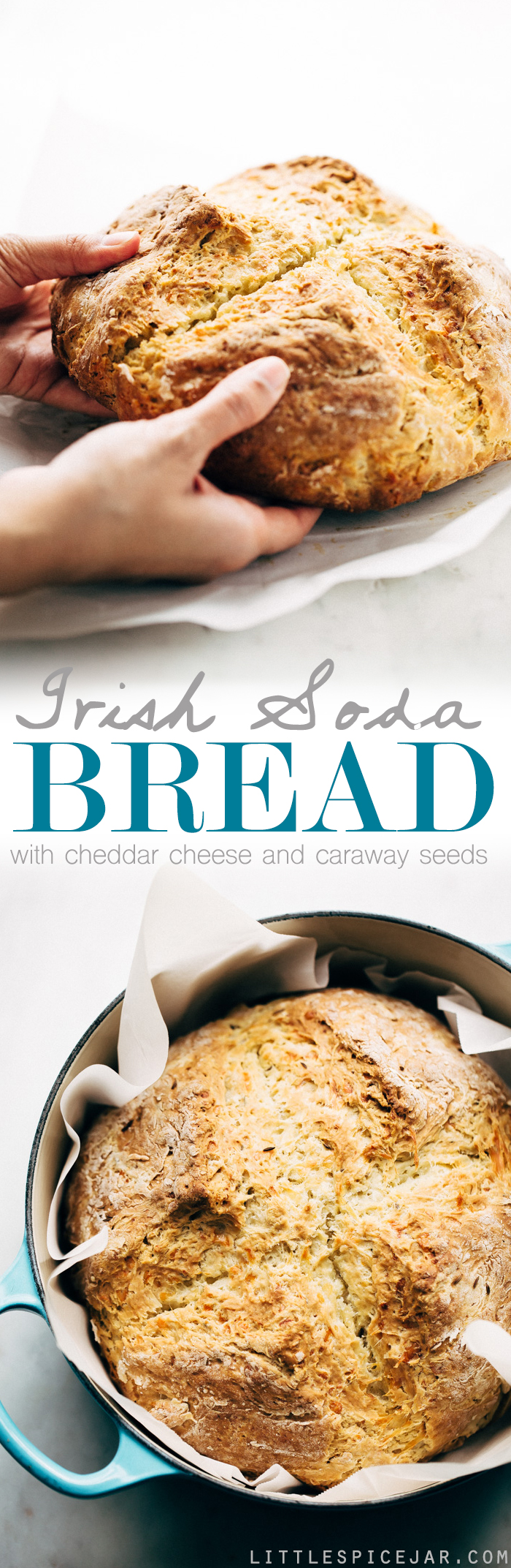 Easy Caraway and Cheddar Irish Soda Bread - bread made with just a few ingredients! Ready in less than an hour and speckled with caraway seeds and cheddar cheese! #irishbread #sodabread #irishsodabread #quickbread #nokneadbread   Littlespicejar.com