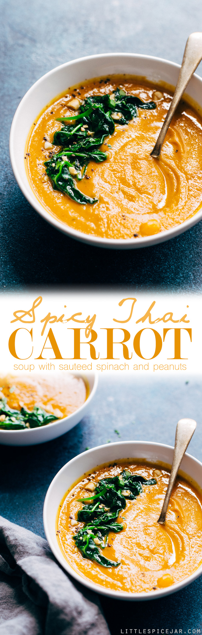 Spicy Thai Carrot Soup - a warm and cozy bowl of soup loaded with lots of veggies and is completely vegan friendly and dairy-free! #vegan #dairyfree #carrotsoup #thaicarrotsoup | Littlespicejar.com