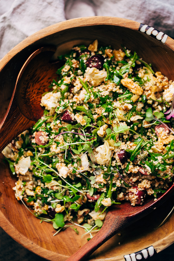 Spring Mediterranean Couscous Salad with Sun-dried Tomato Vinaigrette - a clean the fridge kind of salad where you can use up all the little bits of what you have leftover! #sponsored #mediterraneansalad #couscoussalad #salad #springsalad   Littlespicejar.com