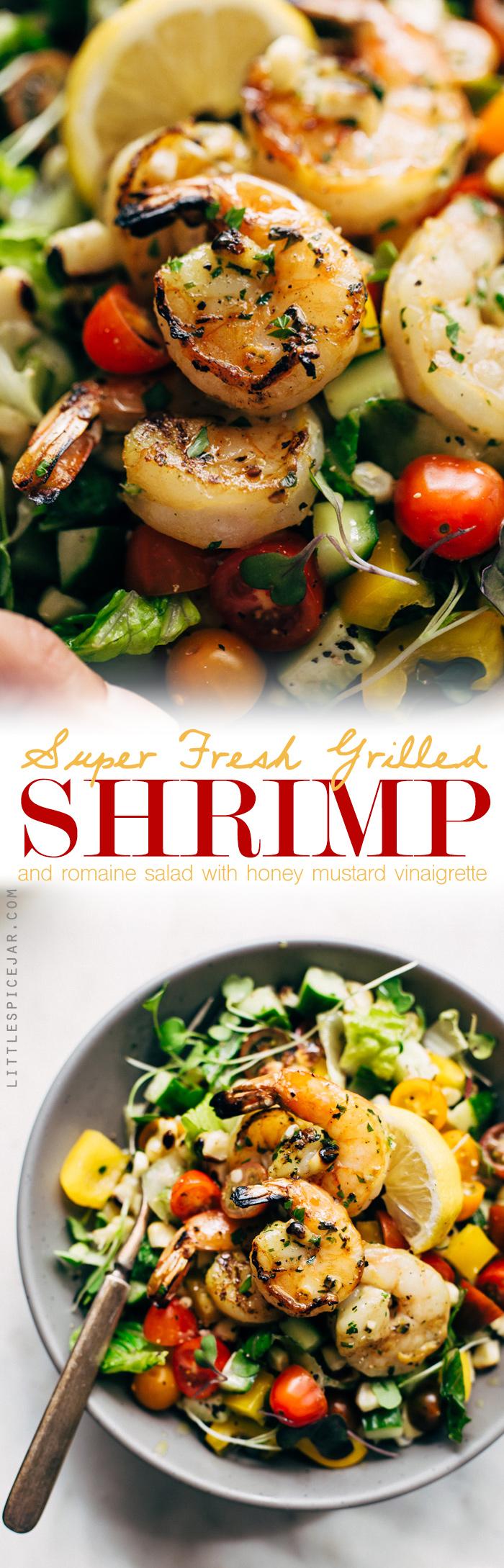 Super Fresh Grilled Shrimp Salad with Honey Mustard Vinaigrette - a simple salad with grilled romaine, shrimp, corn, and peppers. Top if off with the honey mustard dressing! #shrimpsalad #grilledromaine #grilledshrimp #salad   Littlespicejar.com