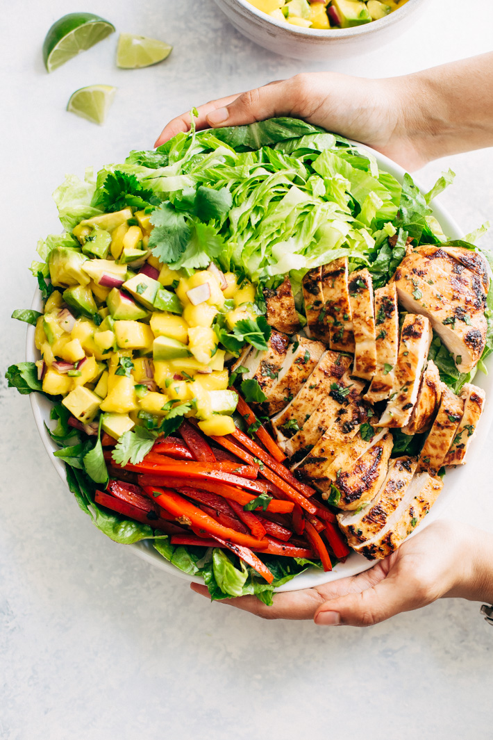Firsta Chili Lime Chicken Salad with Mango Avocado Salsa - A simple Mexican inspired chicken salad topped with salsa! This salad is loaded with great flavors! #chickensalad #salad #mangoavocadosalsa #chililimesalad | Littlespicejar.com