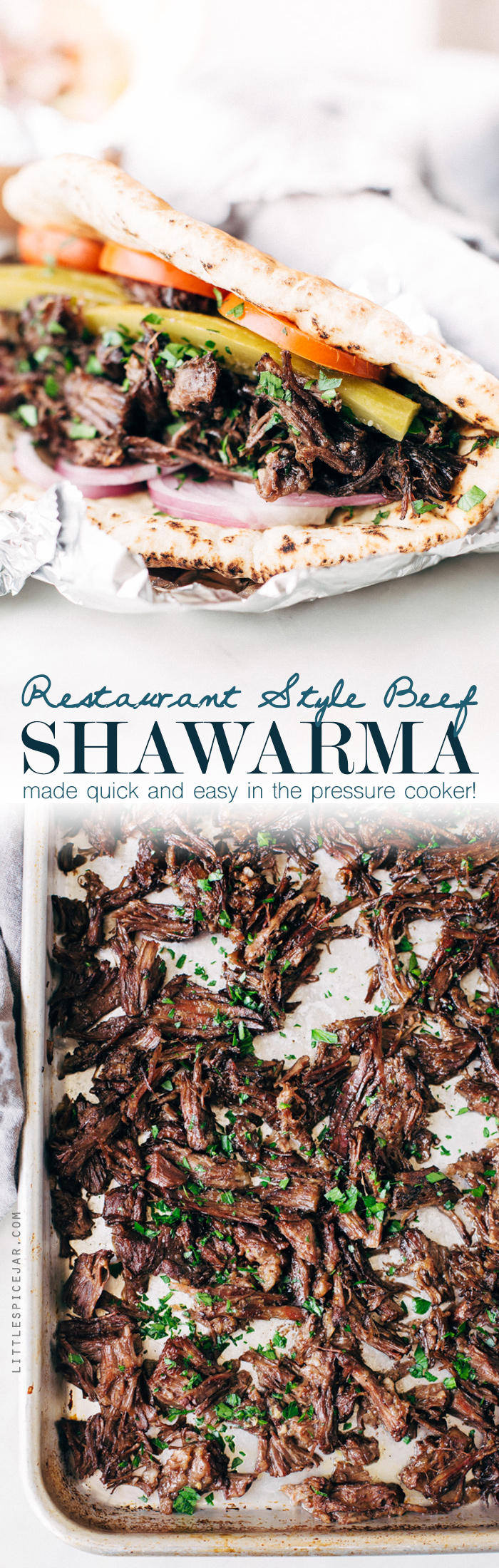 Restaurant Style Beef Shawarma (Pressure Cooker) - an easy recipe for homemade shawarma right in your instant pot! This shredded beef can be used immediately or frozen for later! #instantpot #beefshawarma #shawarma #pressurecooker   Littlespicejar.com