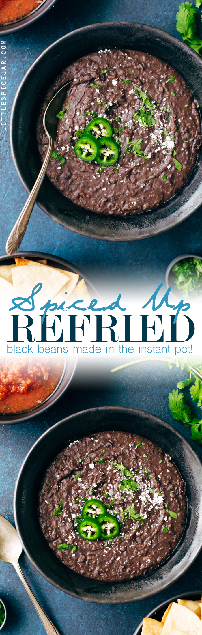 Spiced Up Refried Black Beans - learn how to make restaurant style black beans at home right in your instant pot! #instantpot #refriedblackbeans #refriedbeans #blackbeans | Littlespicejar.com