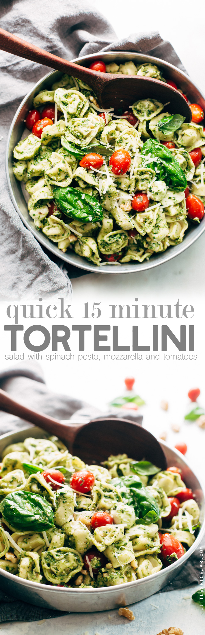 15 Minute Spinach Pesto Tortellini Salad - a quick and easy pasta salad that's perfect for picnics, potlucks, and barbecues! Ready in just 15 minutes! #tortellinisalad #pasta #pastasalad #spinachpesto | Littlespicejar.com