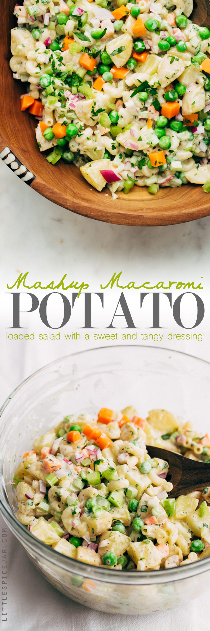 Mashup Macaroni Potato Salad - my family's favorite potato salad recipe! This is easy to make and is LOADED with flavor! #potatosalad #salad #macaronisalad #picnic #barbecue | Littlespicejar.com
