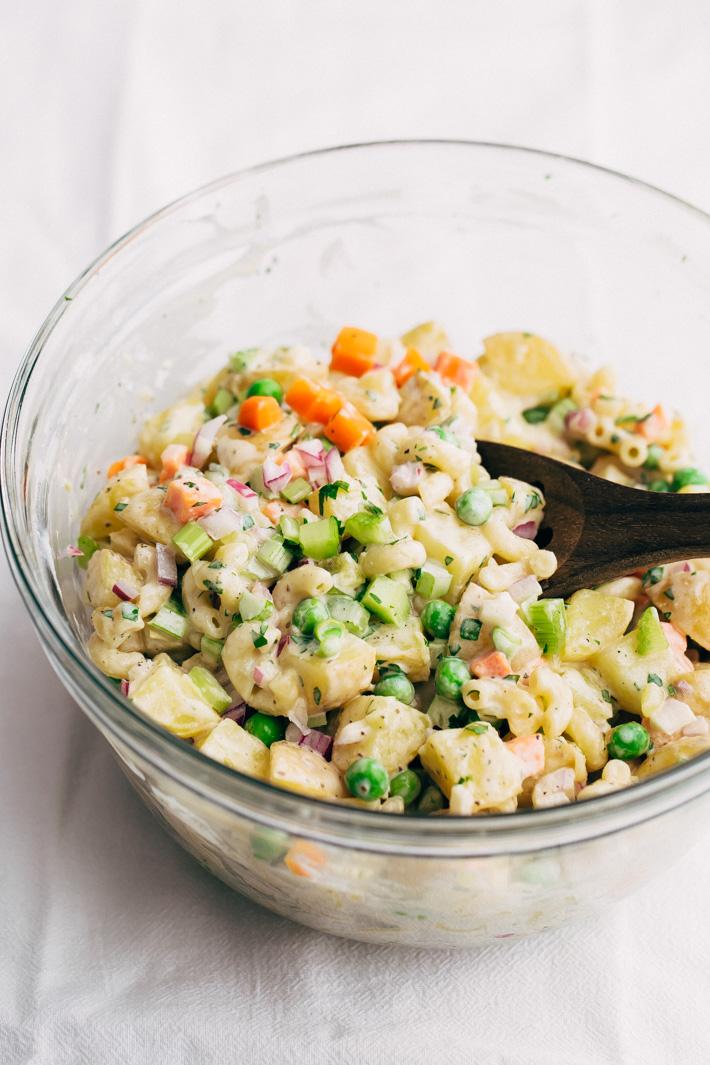 Mashup Macaroni Potato Salad - my family's favorite potato salad recipe! This is easy to make and is LOADED with flavor! #potatosalad #salad #macaronisalad #picnic #barbecue   Littlespicejar.com