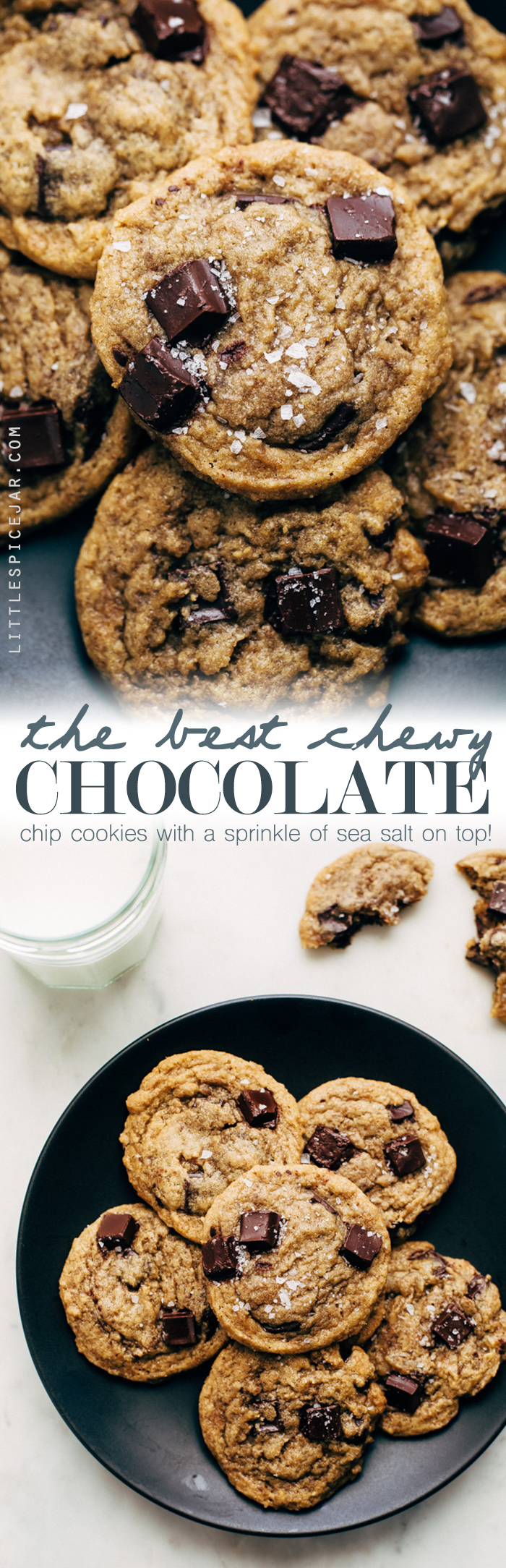 The BEST Chewy Chocolate Chip Cookies - this recipe uses bread flour to add tons of tender, soft and chewy goodness to these cookies! #chewychocolatechipcookies #chocolatechipcookies #cookies | Littlespicejar.com