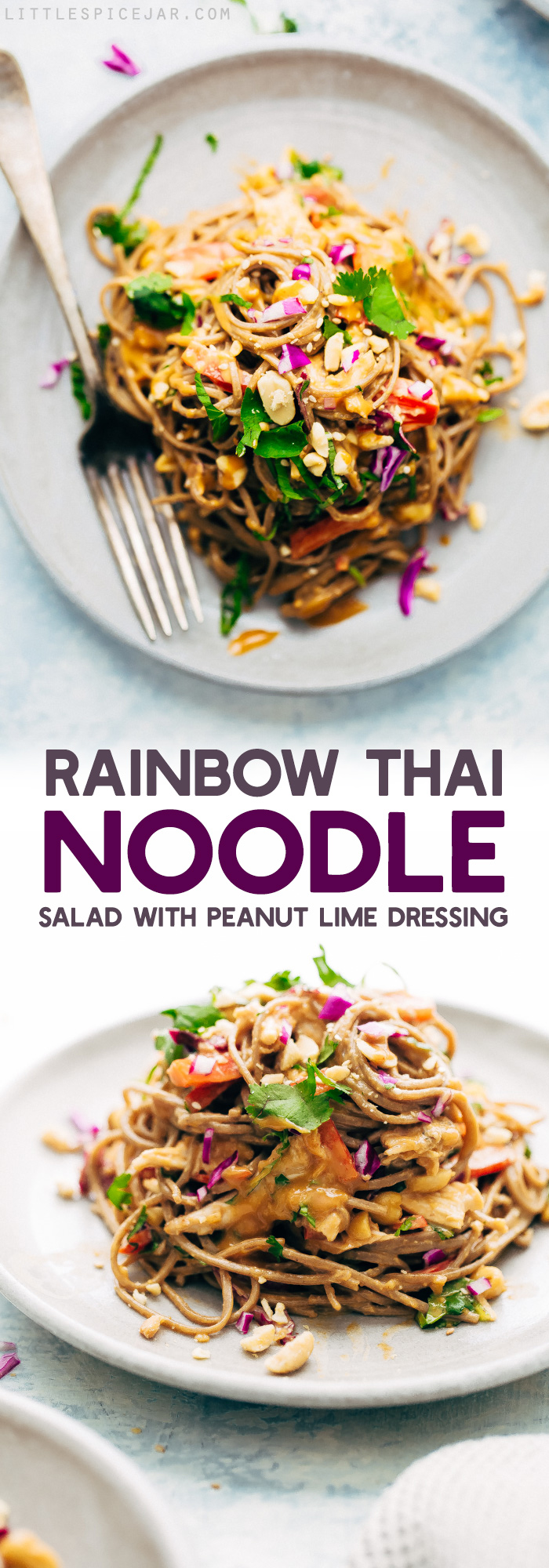Rainbow Thai Noodle Salad with Peanut Lime Dressing - A quick, weeknight friendly noodle salad with homemade dressing, shredded chicken, tons of herbs, and lots of veggies! #sobanoodlesalad #thainoodlesalad #noodlesalad #pastasalad #thaisalad #thaichickensalad | Littlespicejar.com