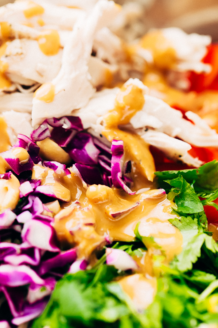 Rainbow Thai Noodle Salad with Peanut Lime Dressing - A quick, weeknight friendly noodle salad with homemade dressing, shredded chicken, tons of herbs, and lots of veggies! #sobanoodlesalad #thainoodlesalad #noodlesalad #pastasalad #thaisalad #thaichickensalad   Littlespicejar.com