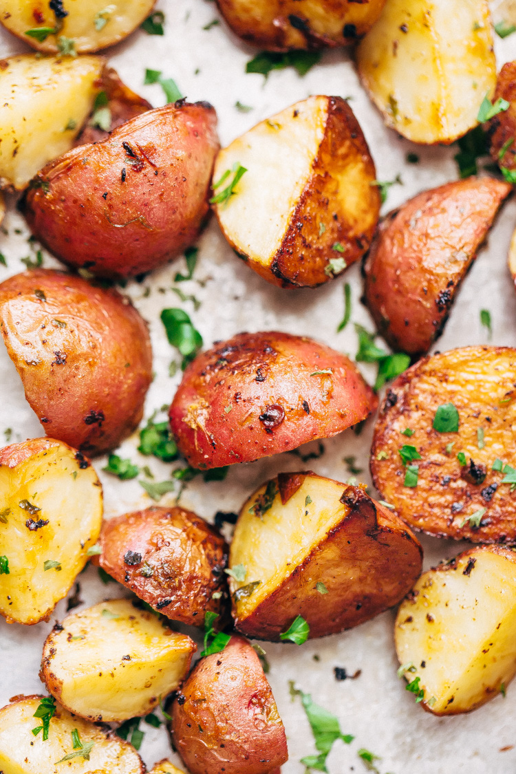 Crunchy Chipotle Ranch Chicken and Potatoes - 7 easy ingredients in this meal and comes with a side of ranch roasted potatoes! So good! #chickentenders #bakedchickentenders #ranchpotatoes   Littlespicejar.com