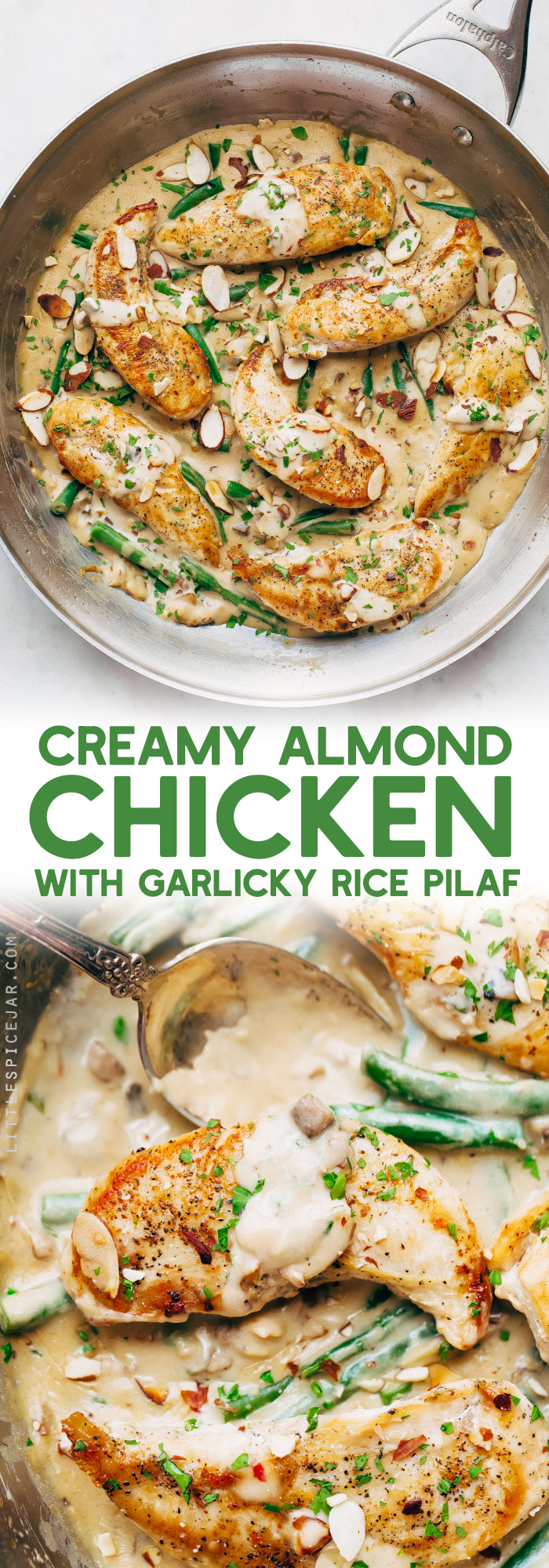 Creamy Almond Chicken with Rice Pilaf - seared chicken tenders in homemade cream sauce, sooo good! #sponsored #chickenincreamsauce #skilletchicken #chickendinner @aldiusa | Littlespicejar.com
