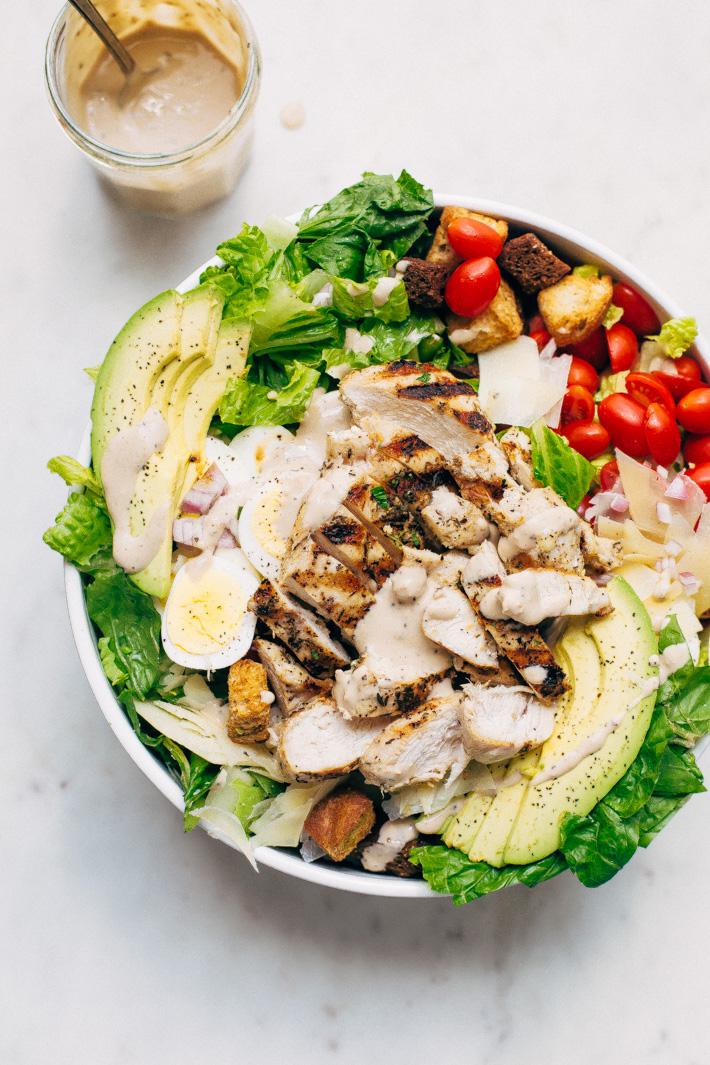 Grilled Romaine Chicken Caesar Cobb Salad Recipe Little Spice Jar