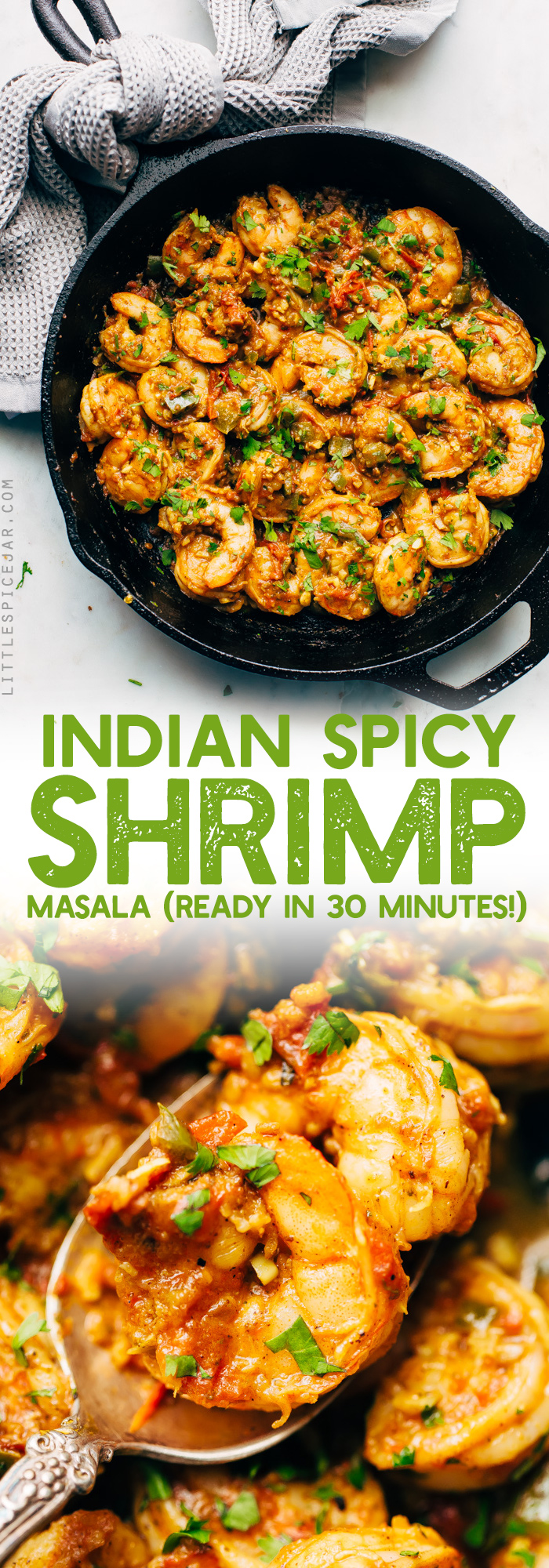 30-Minute Spicy Shrimp Masala - an easy recipe for Indian style shrimp masala. Perfect to serve with naan or basmati rice! #shrimpmasala #indianmasala #masalashrimp #shrimp | Littlespicejar.com