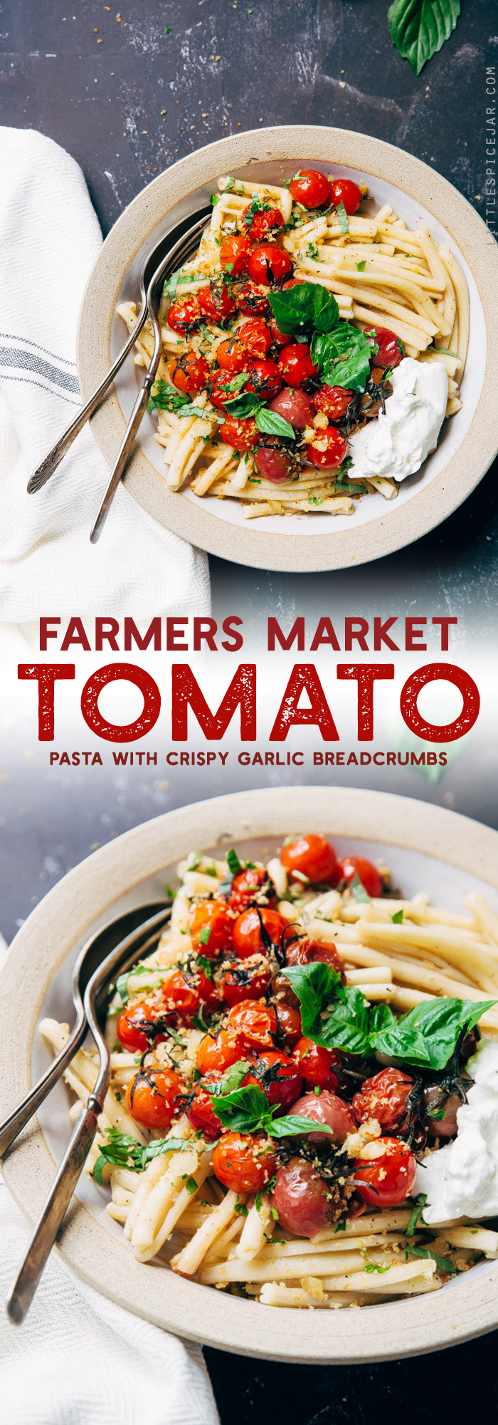 Farmer's Market Roasted Tomato Pasta with Garlic Breadcrumbs - use up all those delicious cherry tomatoes summer has to offer in this simple pasta dish! #roastedtomatopasta #tomatobasilpasta #garlicbreadpasta | Littlespicejar.com