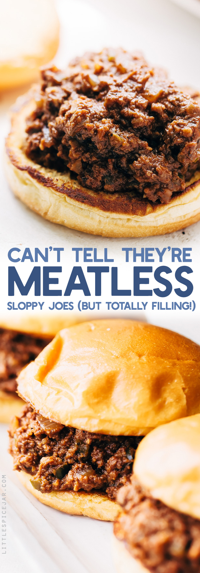 You Won't Believe It's Meatless Sloppy Joes - loaded with tons of flavor and texture these taste just like the real thing only they're completely vegan friendly! #vegan #vegansloppyjoes #meatlesssloppyjoes #meatlessmonday #vegetarian | Littlespicejar.com