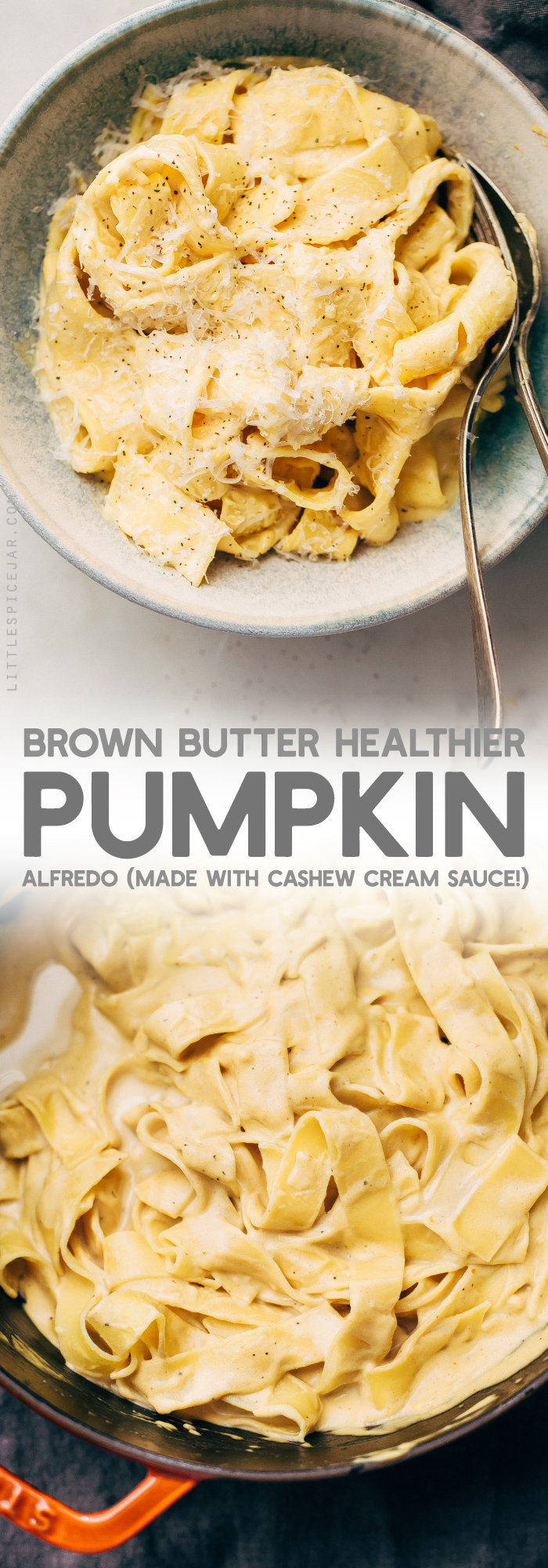 Sage Brown Butter Healthier Pumpkin Alfredo - a homemade pumpkin alfredo with a cashew cream sauce! So good as a side or as a main dish! #healthierpumpkinalfredo #pumpkin #pumpkinalfredo #cashewcreamsauce | Littlespicejar.com