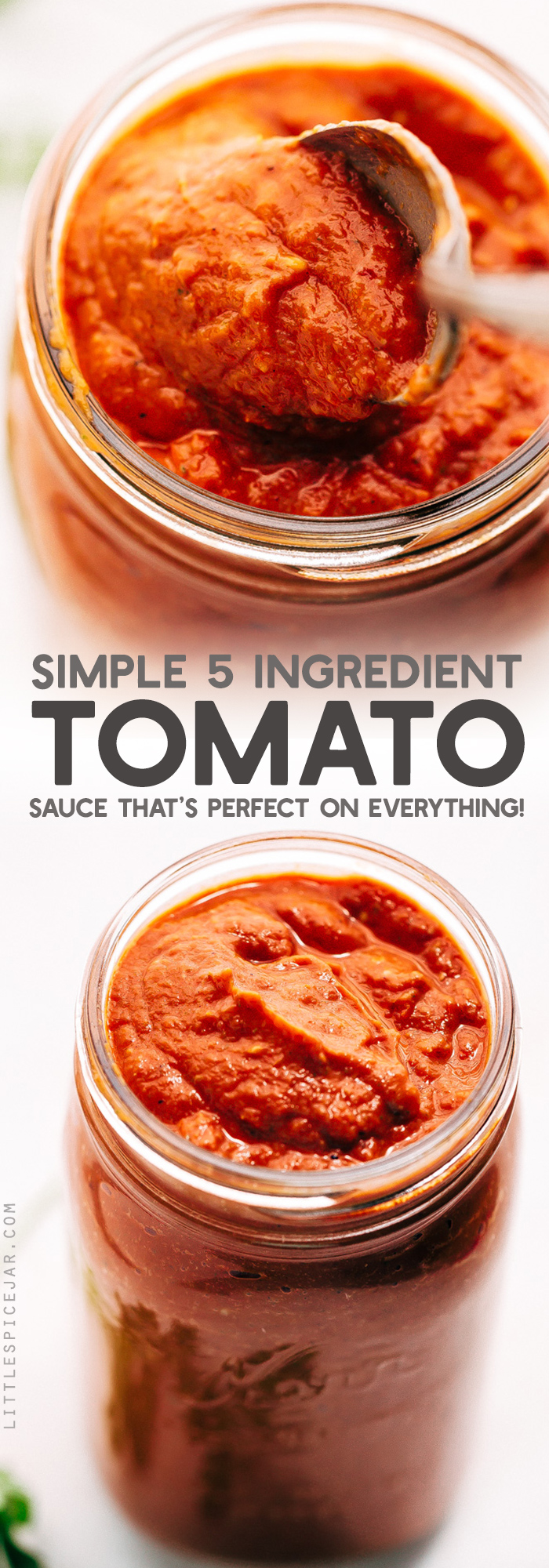 Simple 5 Ingredient Tomato Sauce - a rustic sauce that's easy to make. Just toss it all into the oven and sit back as it make your whole house smell wonderful! Perfect to use on pasta, lasagna, as a dip for sandwiches or meatballs! #tomatosauce #pizzasauce #homemaderedsauce #redsauce #tomatobasilsauce | Littlespicejar.com