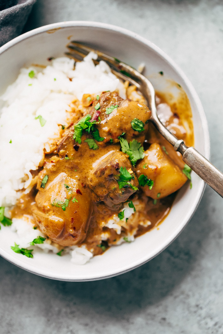 Thai Beef and Potato Curry (Instant Pot) - a quick Thai curry made in your instant pot so you'll have dinner in around 40 minutes! So warm and cozy too! #massamancurry #instantpot #instantpotrecipe #thaicurry #beefandpotatocurry | Littlespicejar.com