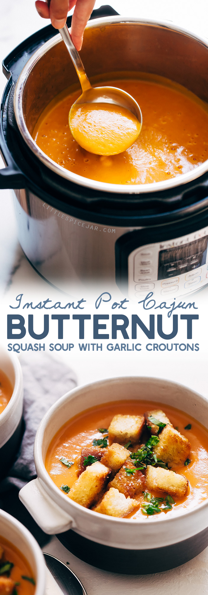 Instant Pot Cajun Butternut Squash Soup - a simple soup where you just toss it all into the instant pot and sit back! SO EASY AND SO DELISH! #instantpot #butternutsquashsoup #buttternutsquash #instapotsoup | Littlespicejar.com