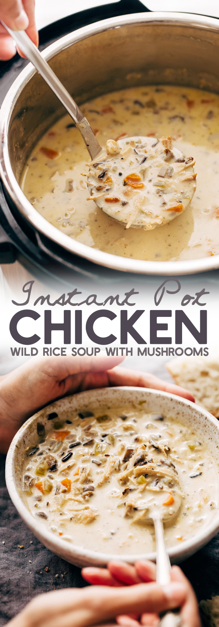 Instant Pot Chicken Wild Rice Soup - this soup is warm and filling and takes 45 minutes to make from start to finish! #instantpot #pressurecooker #soup #chickenwildricesoup #wildricesoup | Littlespicejar.com