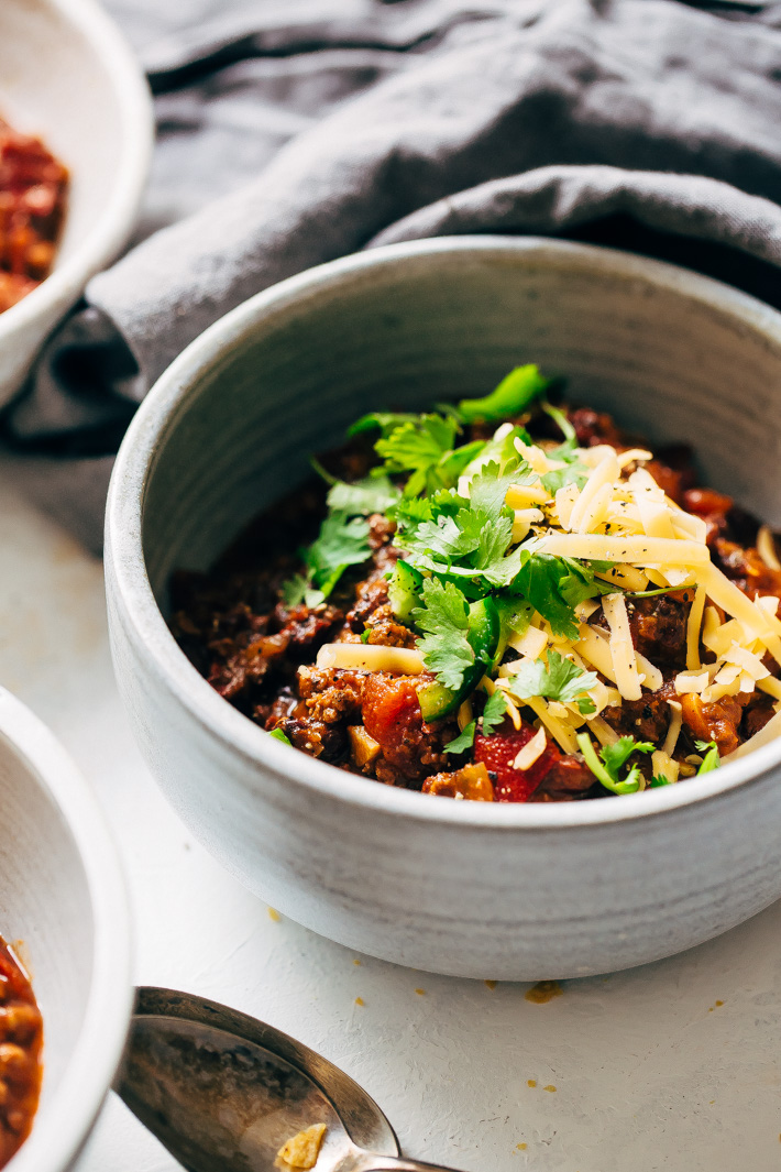 Spicy Instant Pot Mexican Chili with Black Beans Recipe - A homemade chili that tastes slow simmered but takes 40 minutes to make from start to finish! #instantpot #instantpotchili #mexicanchili #chilirecipe | Littlespicejar.com