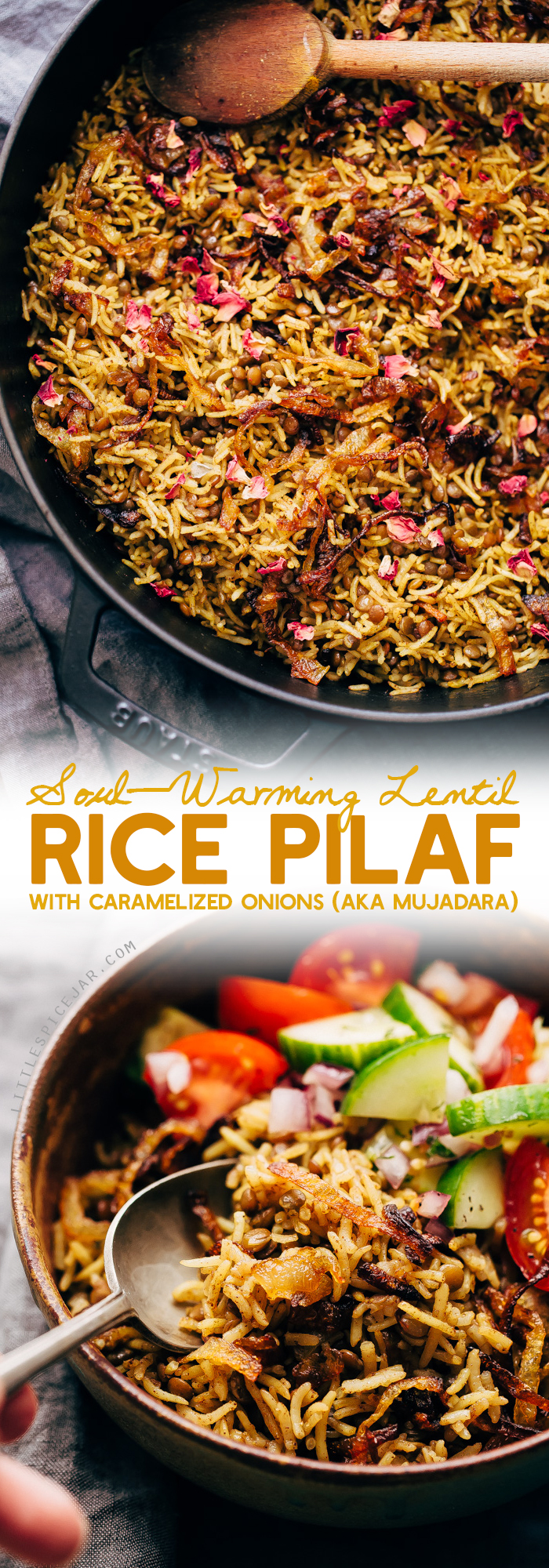 Lentil Rice Pilaf with Caramelized Onions (Mujadara) - this simple lentils and rice recipe is great as a main course or as a side for holidays! #mujadara #lentilricepilaf #lebanesericepilaf #ricepilaf #pilaf | Littlespicejar.com