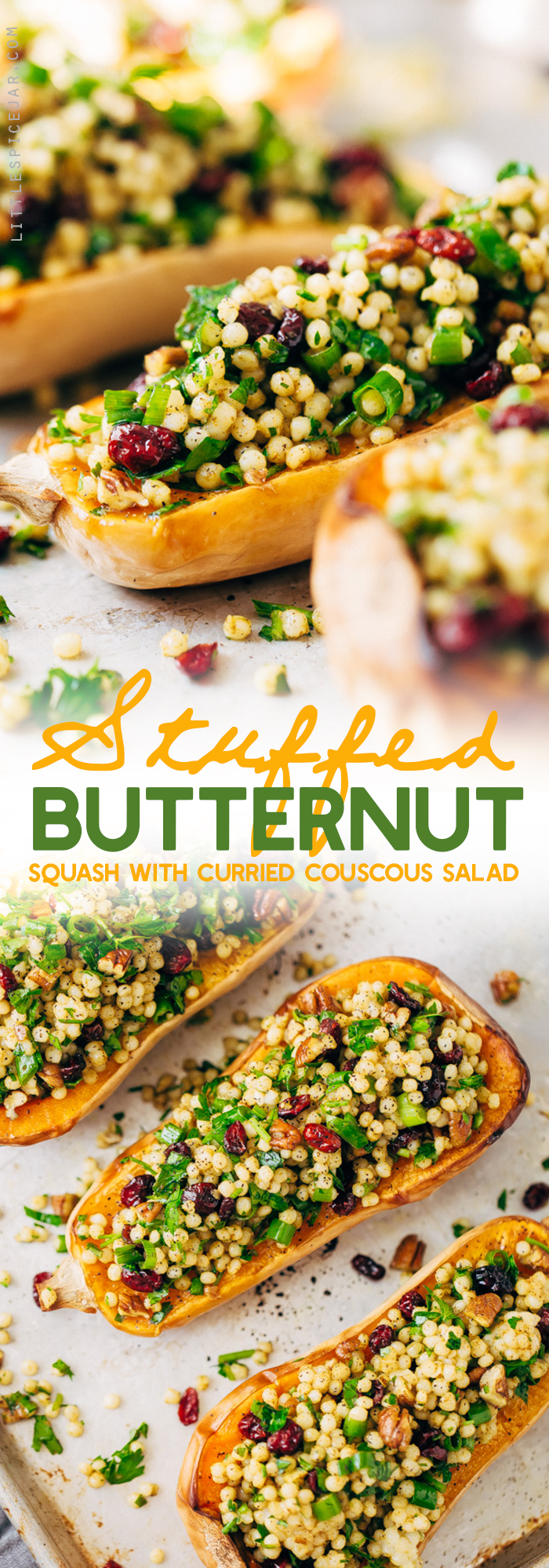 Stuffed Butternut Squash with Curried Couscous Salad - a simple side dish or main meal! Perfect for Thanksgiving. #stuffedbutternutsquash #butternutsquash #roastedbutternutsquash #couscoussalad   Littlespicejar.com