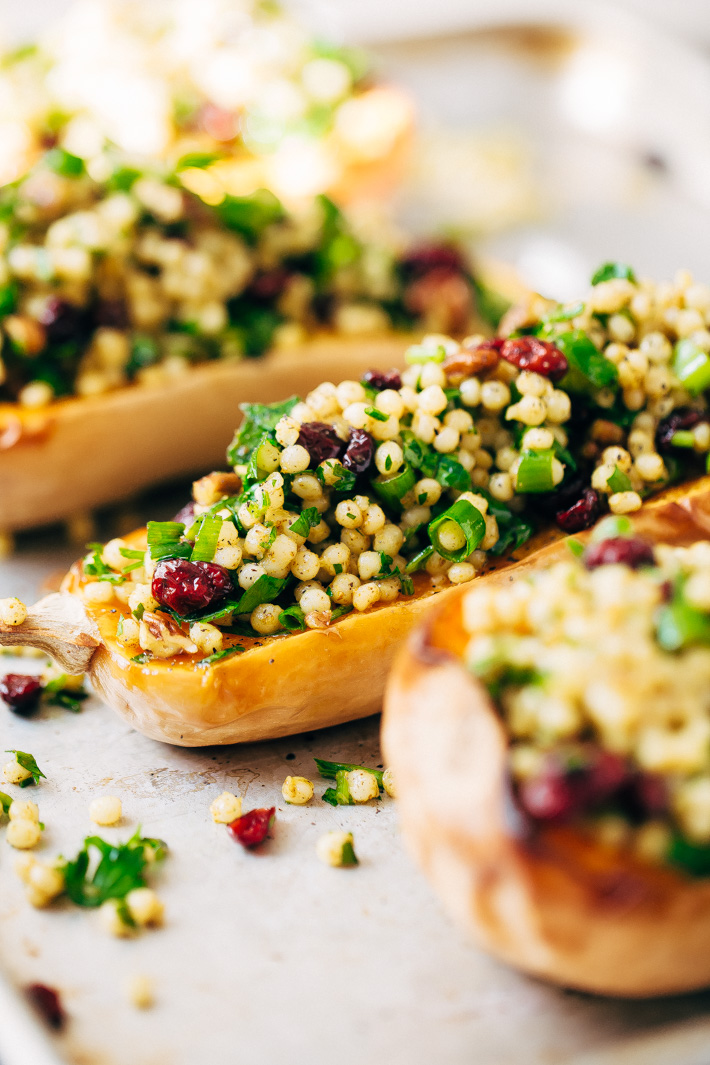 Stuffed Butternut Squash with Curried Couscous Salad - a simple side dish or main meal! Perfect for Thanksgiving. #stuffedbutternutsquash #butternutsquash #roastedbutternutsquash #couscoussalad | Littlespicejar.com