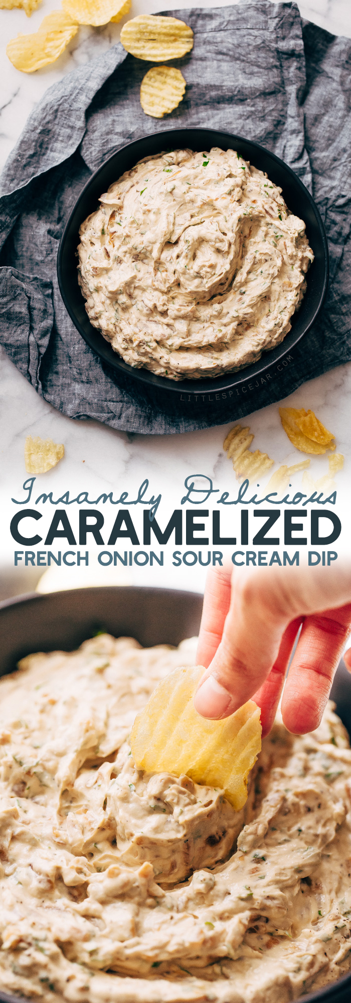 Caramelized Onion Dip - a simple dip that you can make ahead for parties and gatherings! Perfect for New Years Eve or any celebration! #caramelizedoniondip #frenchoniondip #oniondip #frenchcaramelizedoniondip | Littlespicejar.com