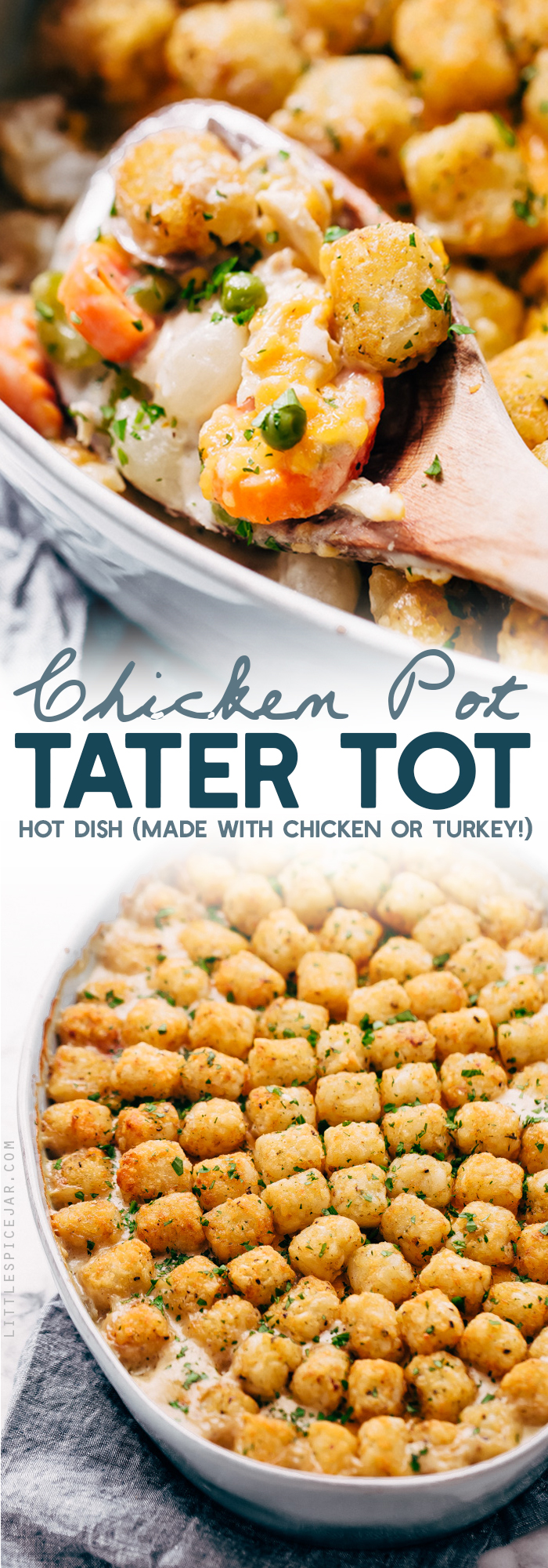 Chicken Pot Tater Tot Hotdish - A chicken pot pie meets a hotdish! This is the most comforting meal ever and it's perfect to make when you need to use up leftover chicken or turkey! #hotdish #casserole #chickenpothotdish #chickentatertotcasserole #chickencasserole | Littlespicejar.com