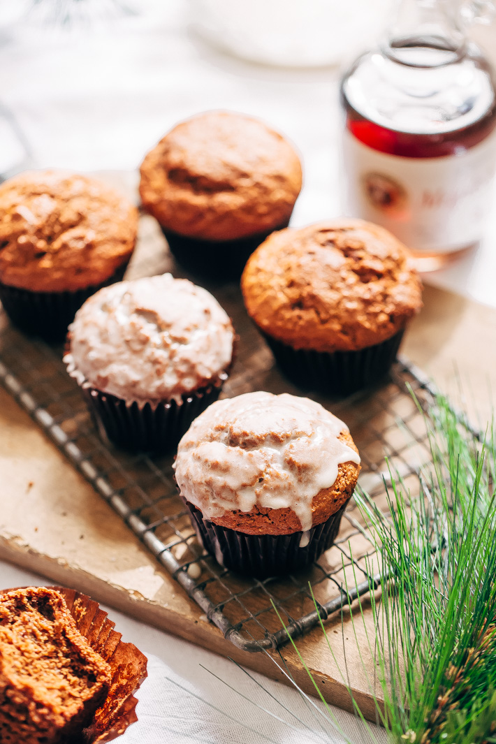 Healthier Gingerbread Muffins - swapping out a few ingredients makes these healthier. You can top them with turbinado sugar or an added crunch or dip them in icing! #healthygingerbreadmuffins #muffins #gingerbreadmuffins #gingerbread | Littlespicejar.com