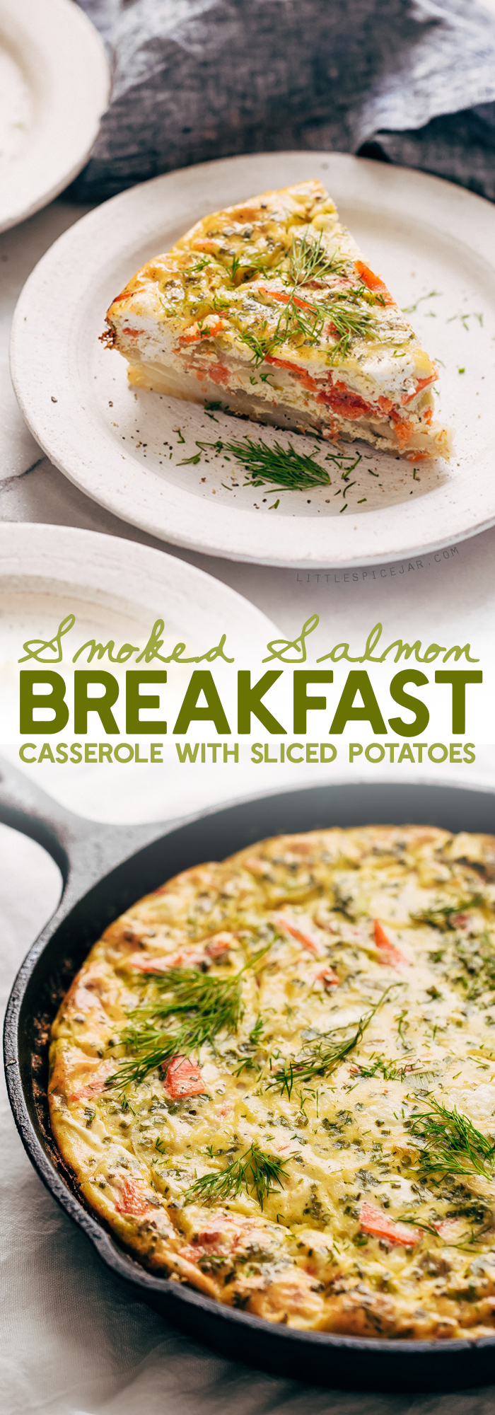 Smoked Salmon Breakfast Casserole - layers of thinly sliced potatoes, sautéed leeks, and flaky salmon. Great to serve for brunch! casserole #breakfastcasserole #smokedsalmon #salmoncasserole | Littlespicejar.com