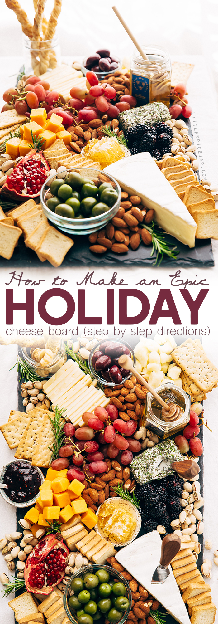How to make an EPIC Holiday Cheese Board - Learn step-by-step how to put together the best cheese board your guests have seen! #holidaycheeseboard #cheeseboard #cheeseplatter #cheeseplate #cheeseandfruitplate | Littlespicejar.com