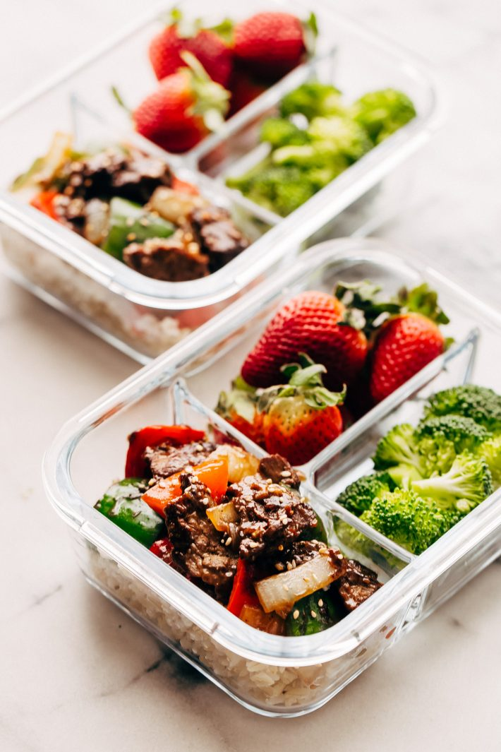 side shot of meal prep boxes