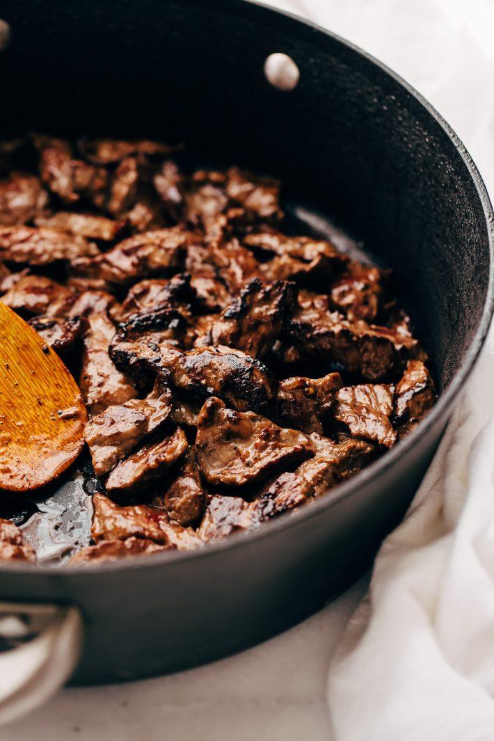 pan fried beef in saute pan