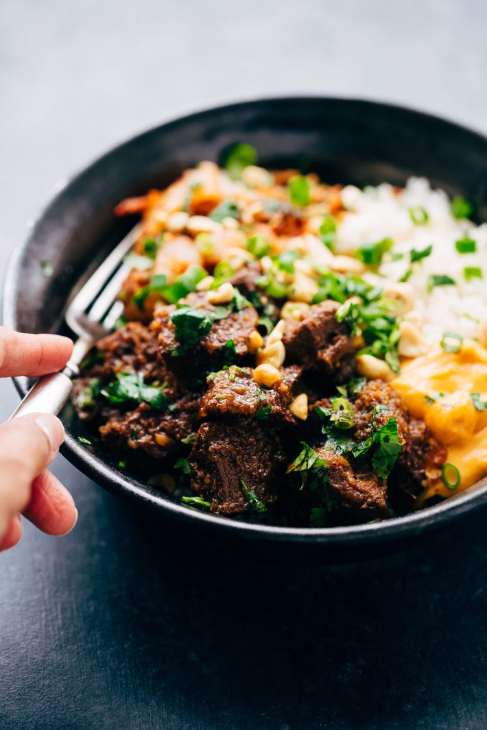 Instant Pot Korean Beef Bowls (or Burritos) Learn how to make korean beef or Korean BBQ in the instant pot when no effort at all! Perfect for weeknights and busy weekends! #koreanbeef #koreanbeefburrito #koreanbeefbowls #koreanbbq | Littlespicejar.com