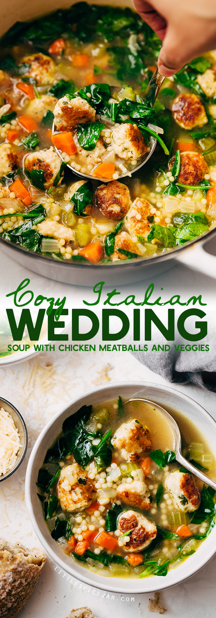 Italian Wedding Soup - an easy homemade soup with tender chicken meatballs and tons of veggies and pasta! So hearty and comforting! #italianweddingsoup #chickenmeatballsoup #chickennoodlesoup | Littlespicejar.com