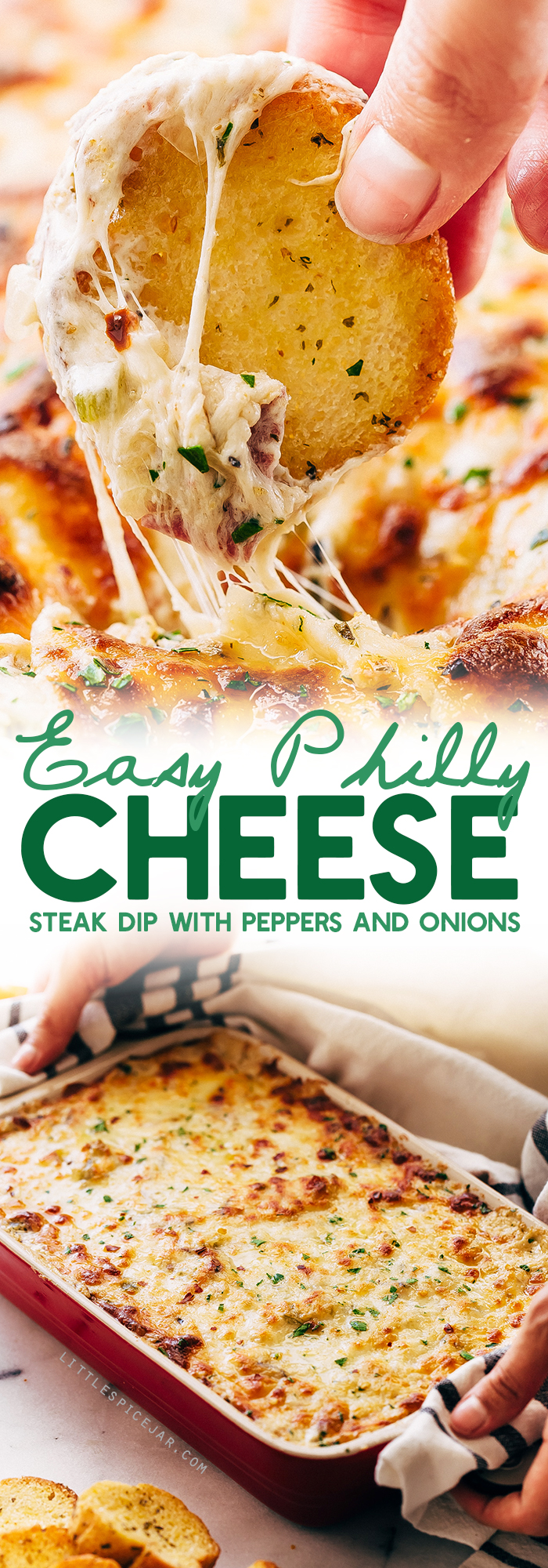 Easy Philly Cheese Steak Dip - Learn how to make a quick and easy philly cheese steak dip that takes about 30 minutes from start to finish! #superbowl #gamedayfood #cheesesteakdip #phillycheesesteakdip #footballfood | Littlespicejar.com