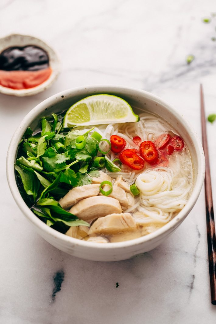 Instant Pot Chicken Pho Noodle Soup (Pho Ga) - Learn how to make chicken pho in your instant pot! This soup has tons of aromatics and is delicious! #instantpot #pressurecooker #chickenpho #phoga #instantpotchickenpho | Littlespicejar.com