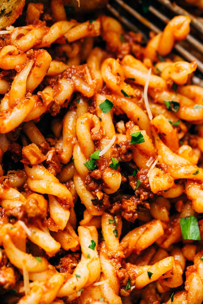 Easy Meat Sauce Recipe (Stove Top and Instant Pot) Learn how to make the most delicious homemade meat sauce. Use it in lasagna, stuffed shells, zucchini boats or on top of spaghetti! #spaghettsauce #bigbatchmeatsauce #meatsauce #ragu #bolognese | Littlespicejar.com