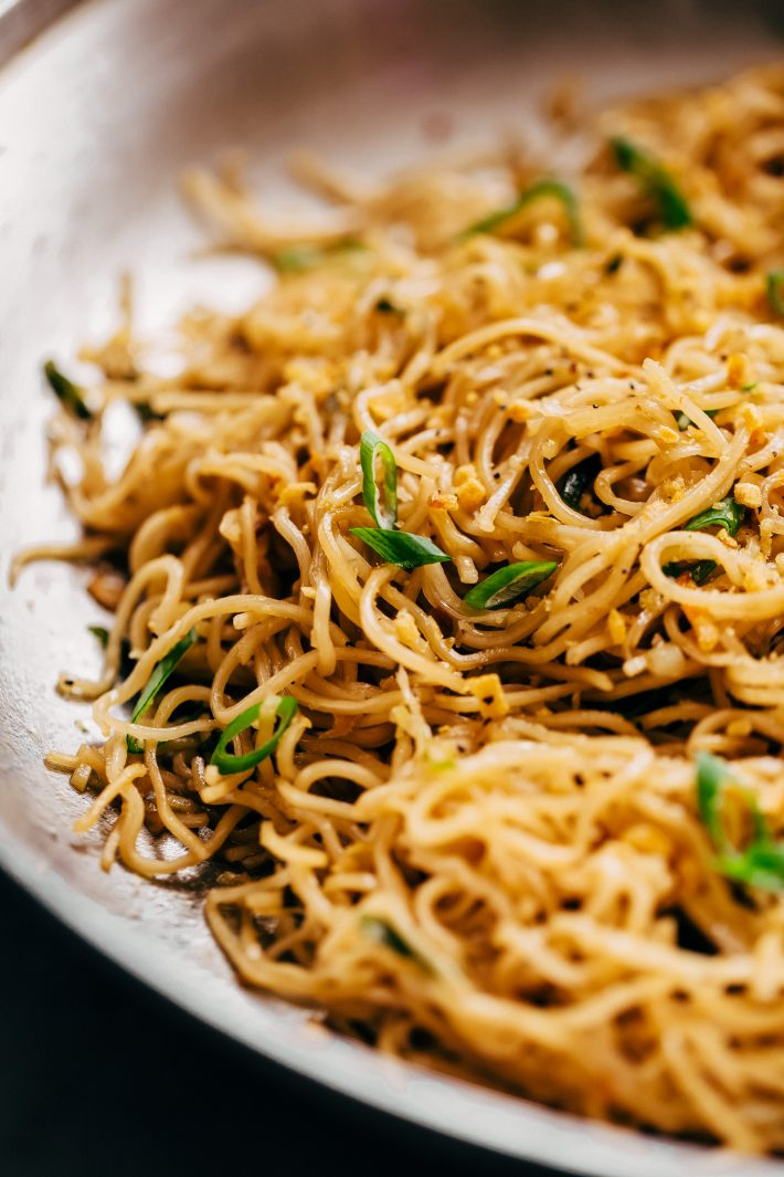 Crazy Good Quick Garlic Noodles - a quick 15 minute recipe for garlic noodles! These noodles are a fusion recipe and have the BEST flavor! #garlicnoodles #quickgarlicnoodles #garlicspaghetti #pasta #noodles | Littlespicejar.com
