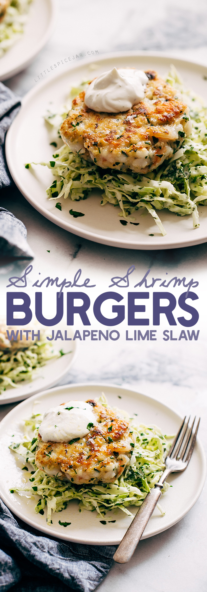 Simple Shrimp Burgers with Jalapeño Lime Slaw - these burgers take in the ballpark of 30 minutes to make. You can serve them on a bed of jalapeño lime slaw or on a brioche bun! Simple, healthy, and delicious! #seafood #shrimp #shrimpburgers #dinner #slaw | Littlespicejar.com